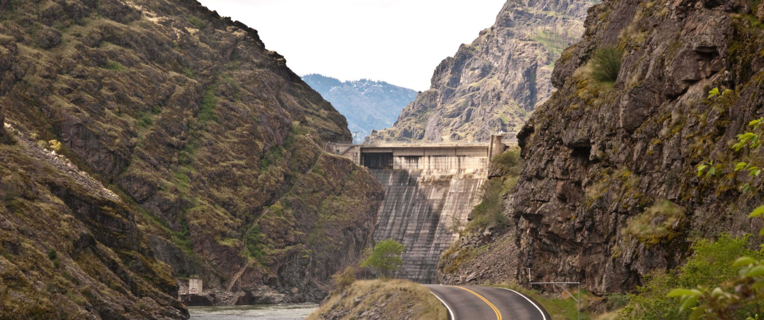 A view of the Hells Canyon Dam and nearby highway, courtesy of Prof. Kevin Pogue