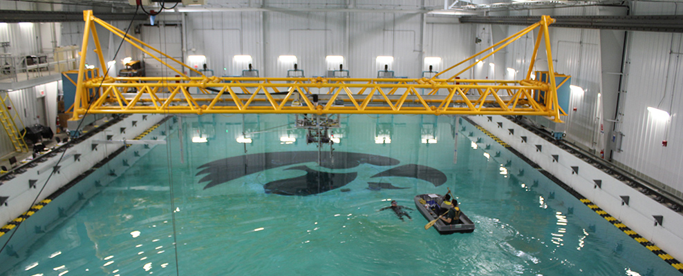 The IIHR Wave Basin was used for wave energy converter testing.