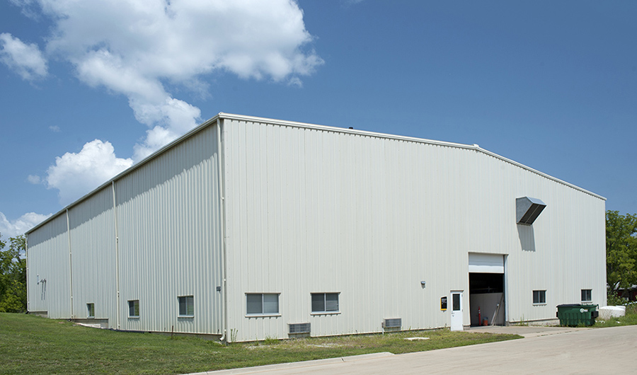 An exterior shot of IIHR's Hydraulics Annex Two at the REsearch Park.