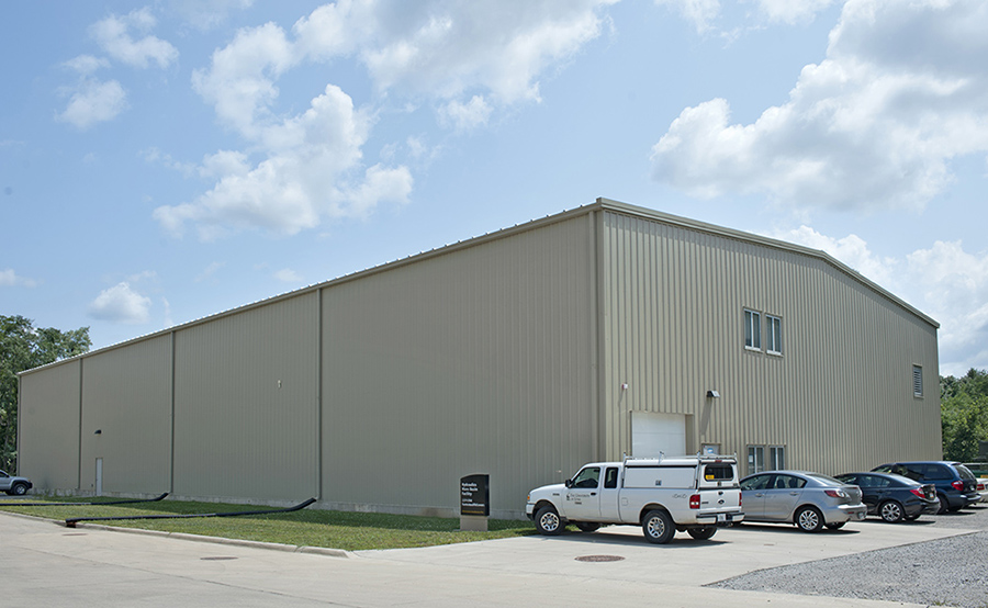 Exterior shot of IIHR's Wave Basin Facility at the Research Park.