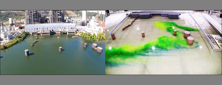 Side by side photos of the Cardinal Power Plant forebay and the physical model built by IIHR.