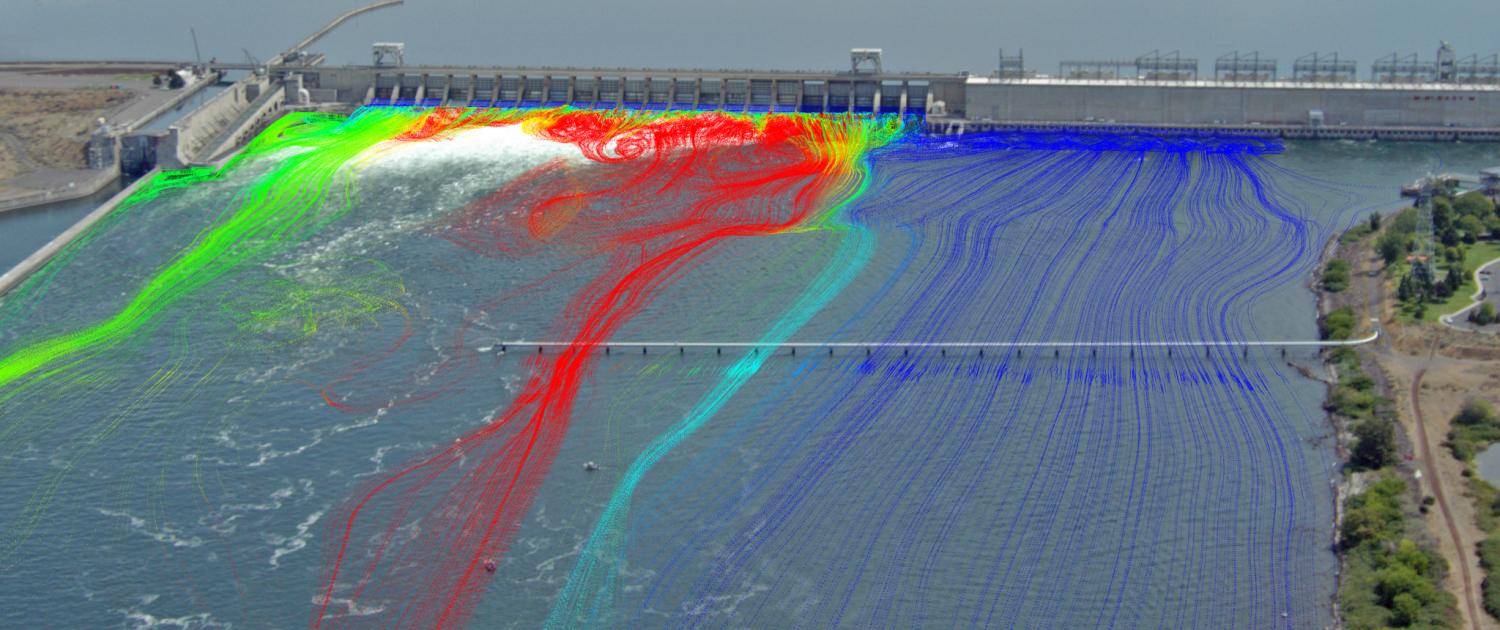 CFD modeling image of the McNary Dam