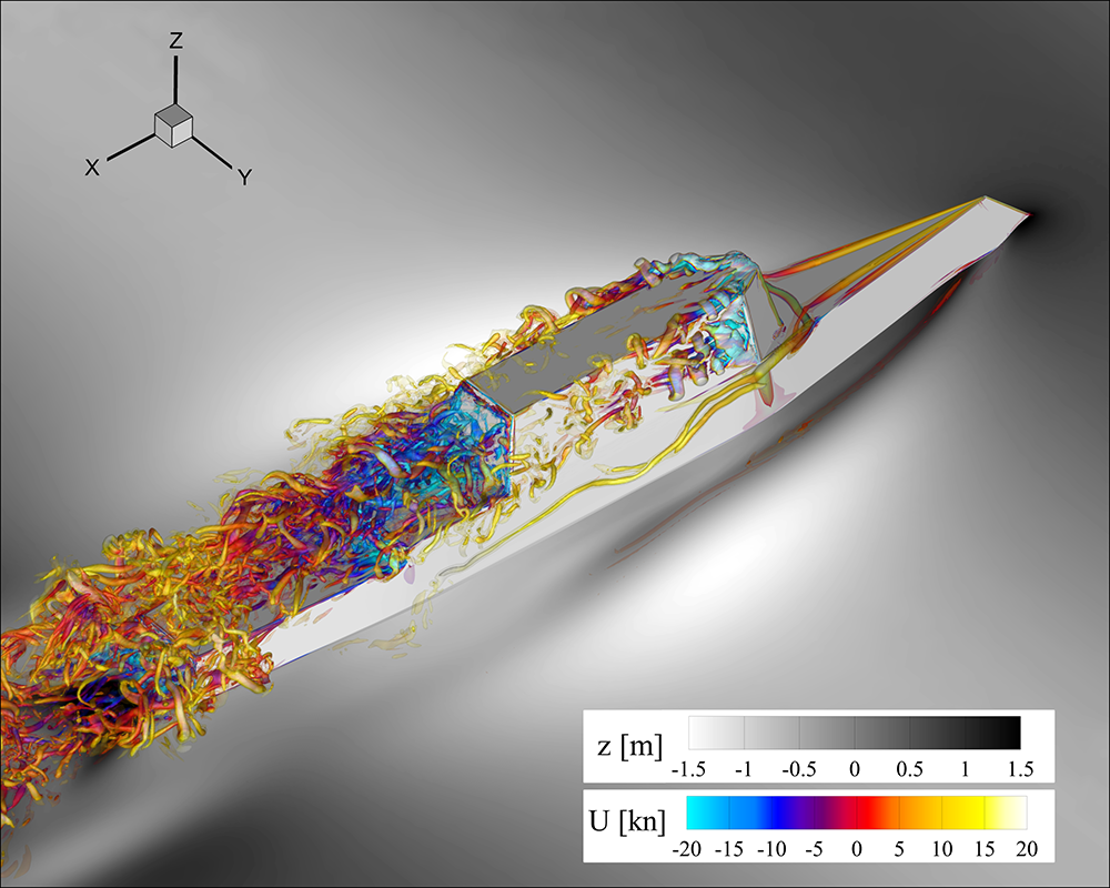 Colorful computer simulation of airflow on the superstructure of the ONR Tumblehome advancing in waves