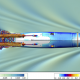 Colorful simulation of flow around the U.S. Navy Athena research vessel