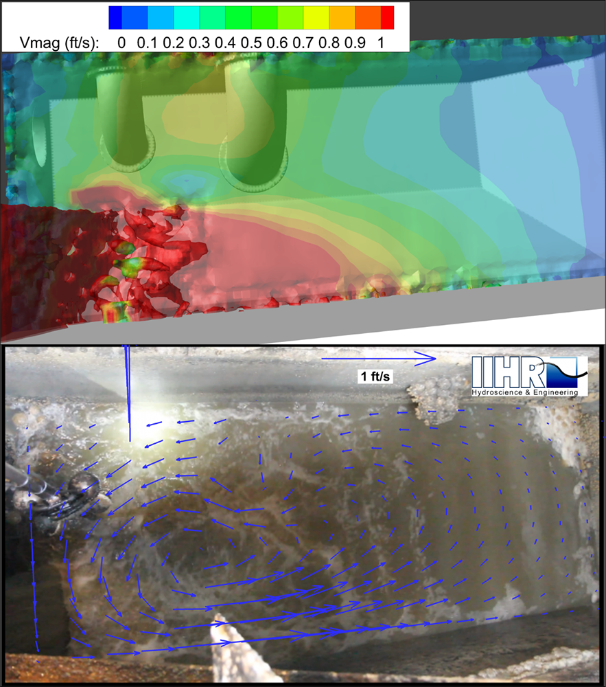 CFD model pictured on top, actual photo on the bottom